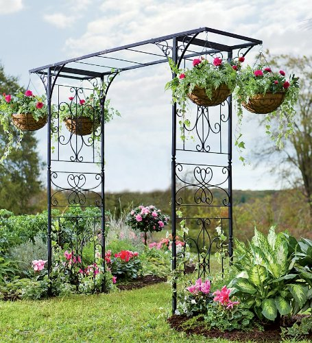 Grand Garden Arbor With Four Hanging Baskets