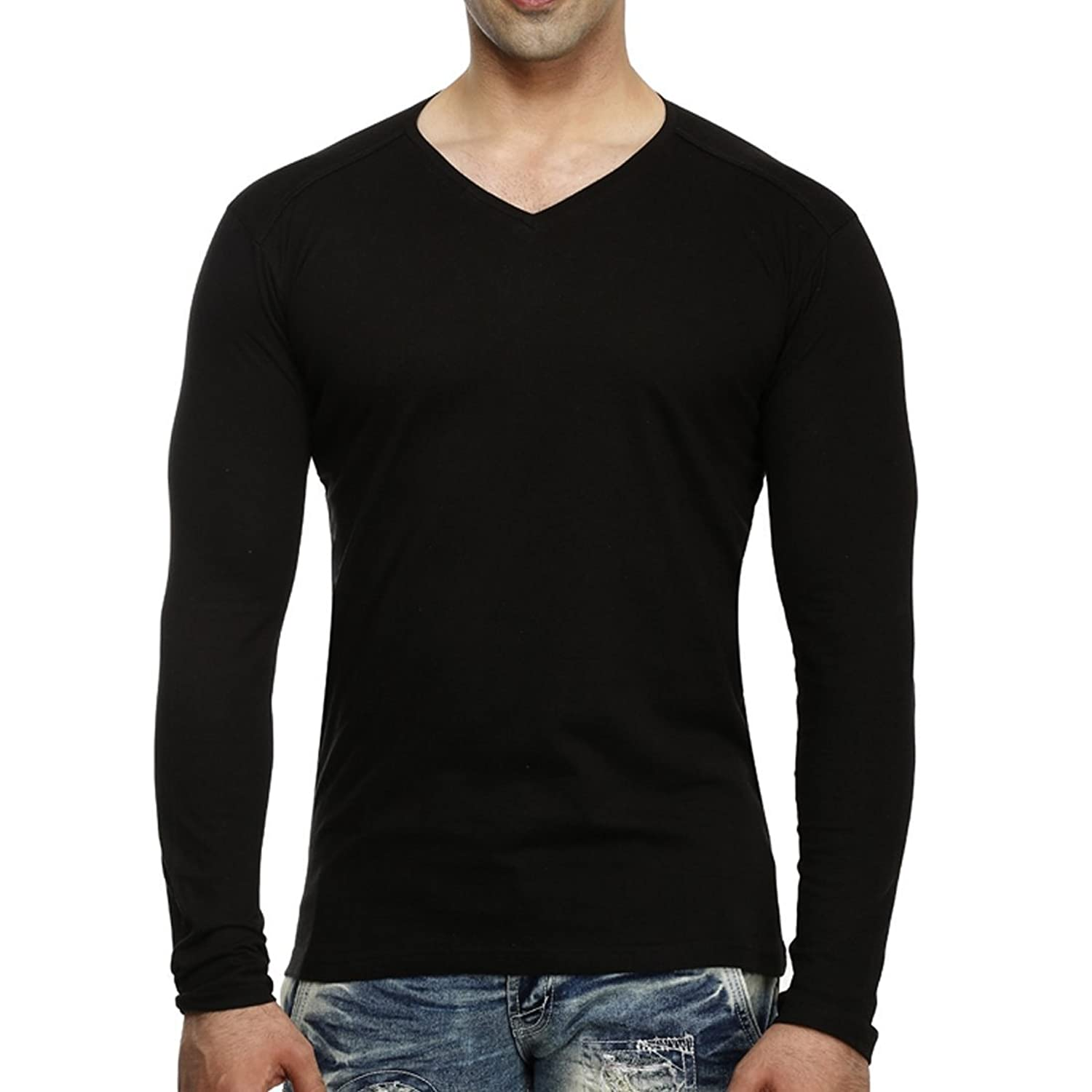 Black t shirt v shape - Tees Collection Men S V Neck Full Sleeve Cotton T Shirt