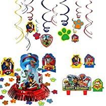Paw Patrol Party Decorations - Candle Set, Hanging Cutouts, and Table Decorating Kit