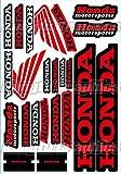 Kungfu Graphics Honda Wing Sponsor Logo Racing Sticker Sheet Universal (7.2x 10.2 inch), Red Black