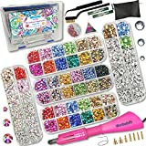 Hotfix Applicator, Hot Fixed Rhinestone Applicator Tool Kit, 30/20/16/10SS Gems Wand Setter for Clothes, 19 Colors, 7 Tips, Manual, Portable Box, Zip Bag, Stand, 2 Trays, Tweezers, Jewel Picker, Brush (Color: super)