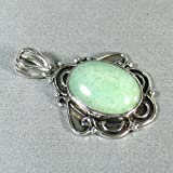 Aventurine Sterling Silver Plated pendant - Beautiful Light Green Smokey Pendant