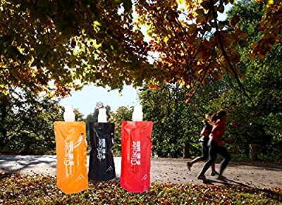 Glacier Foldable Collapsible Reusable Durable Lightweight Compact Freezable Freestanding Portable BPA Free Best Water Bottle Pouch Flask Bag Ice Pack for Camping Hiking Cycling Running Jogging Workouts Gym Summer Camp or Travel