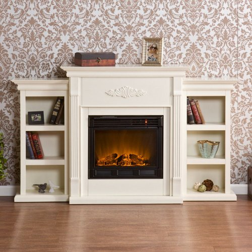 Sei Tennyson Electric Fireplace With Bookcases, Ivory