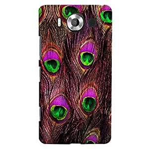 ColourCrust Microsoft Lumia 950 Mobile Phone Back Cover With Peacock Feather Pattern Style - Durable Matte Finish Hard Plastic Slim Case