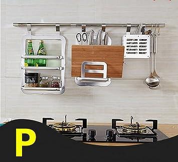 FAFZ-Kuchenregale Kuche-hängende Anhänger, Edelstahl-Kuche-Zahnstange, Wand-hängende Versorgungsmaterialien Gewurzregal ( Farbe : 3*102cm )