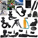 EEEKit 17-in-1 Professional Accessories Bundle Kit for Ion Air Pro 2/3 Wi-Fi HD, Adjustable Bike Handlebar Holder + Bike Bicycle Helmet Mount Holder + Extendable Self-portrait Telescopic Handheld Monopod + Portable Folded Tripod Stand Holder Mount + Car Sunction Cup Mount + Suction Cup Pad + Adjustable Shoulder Belt Strap Mount + Car Sun Visor Mount + Wrist Strap Band Mount Holder + Floating Handheld Grip Mount Pole + Mount Adapter + Long Screw Bolt + EEEKit Srorage Pouch