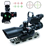 Spike 2.5-10X40 Tactical Rifle Scope w/ Red Laser & Holographic Green / Red Dot Sight Combo Airsoft Gun Weapon Sight Hunting