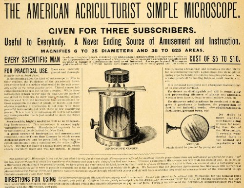 1890 Ad American Agriculturist Microscope Subscription Gift Science Scientific - Original Print Ad