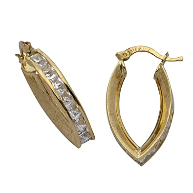 Adara 9 ct Yellow Gold Cubic Zirconia V Creole Earrings