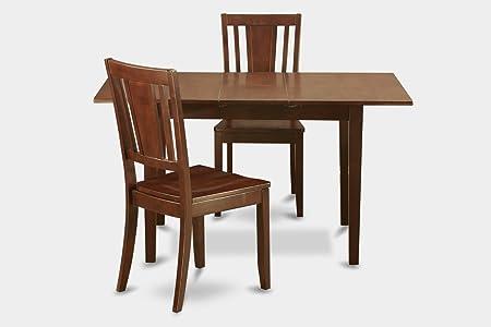 East West Furniture NODU3-MAH-W 3-Piece Dinette Table Set