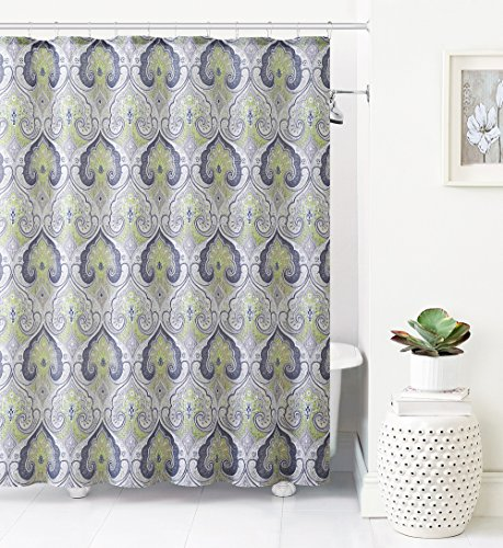 Jacquard Fabric Shower Curtain: Ikat Moroccan Design (Green-Gray-Taupe) (Grey And Green Shower Curtain compare prices)