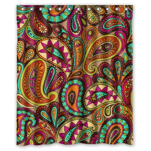 Custom Unique Design Vintage Paisley Waterproof Fabric Shower Curtain, 72 By 60-Inch front-425653