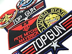 """TOP GUN """"MAVERICK"""" FANCY DRESS Patches (6 patches + 1 Decal) - Iron-On Patch Mega Set , by ONEKOOL"""