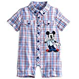 Disney Baby Boys Mickey Mouse Blue & Red Plaid Romper
