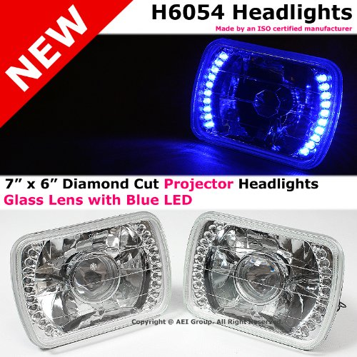 H6054 Sealed Beam 7 X 6 Inch Diamond Cut 20 Blue Led Clear Projector Headlights