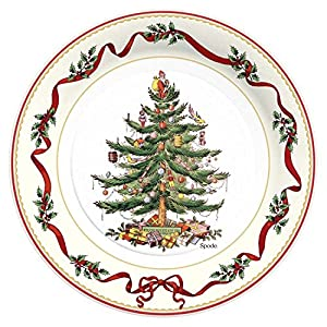 C.R. Gibson 8 Count Paper Dinner Plates, 10.5-Inch, Christmas Holly and Ribbon