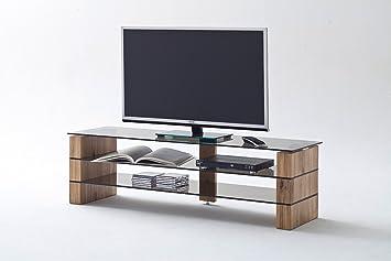 TV-Rack, TV-Board, Fernsehtisch, TV-Schrank, TV-Bank, TV-Unterschrank, Eiche, massiv, Glas, grau, Phonomöbel, TV-Ständer, TV-Stand