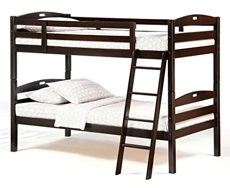 Dark Chocolate Finish Twin over Twin Bunk Bed Set - Sesame