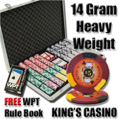 1000 King's Casino Poker Chip Set with Free WPT Rule Book. 14 Gram Heavy Weighted Poker Chips.