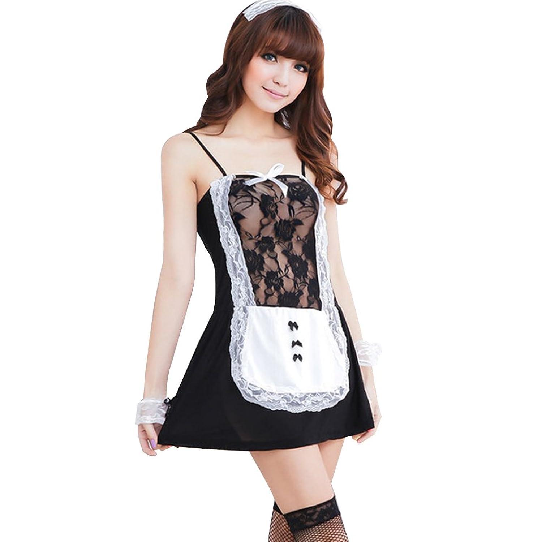 Deercon 5PCS Frauen Maid Dessous Kleid-Nachtzeug Babydoll Sleepwear + G-string Set (schwarz) jetzt kaufen