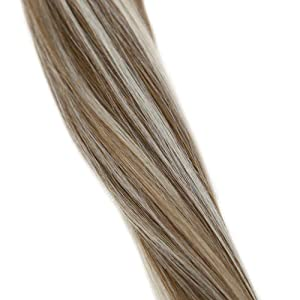 LaaVoo 14 Thick Ponytail Clip in Human Hair Extension Highlighted Color Light Brown #8 to Platinum Blonde #60 Straight Real Human Hair Extensions 70 Grams (Color: #P8/60, Tamaño: 14 Inch)