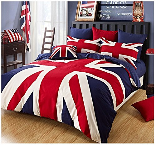 Brandream Designer British Flag Bedding Set 100% Cotton Duvet Cover Queen Full Size (British Flag Bedding compare prices)