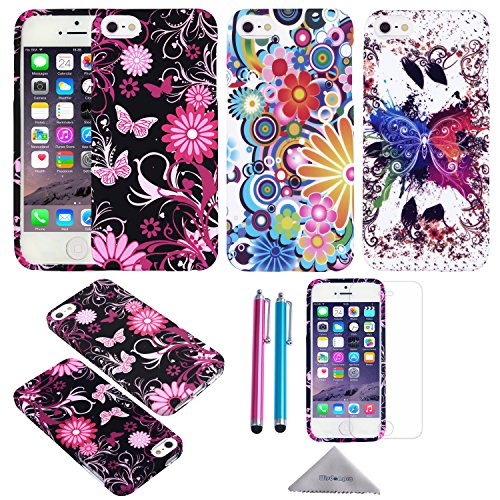 iPhone 5s Case, iPhone SE Case, Wisdompro 3pcs Bundle Pack of Color and Graphic Soft TPU Gel Protective Case Covers for Apple iPhone 5/5s/SE (Flower Butterfly Pattern) (Packages Of Iphone 5s Cases compare prices)