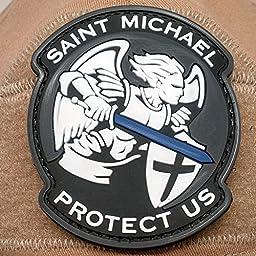 Saint Michael Protect Us Morale Patch - PVC Morale Patch, Velcro Morale Patch, Saint Michael Protect Us Patch