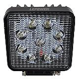 LEPOWER LED作業灯 ワークライト 車外灯 トラック 船舶 補助照明 IP67防塵防水 12V・24V兼用 27W 1年保証 (27W)