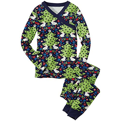 Hanna Andersson Little Girl Long John Pajamas In Organic Cotton, Size 120 (6-7), Silent Night front-648976