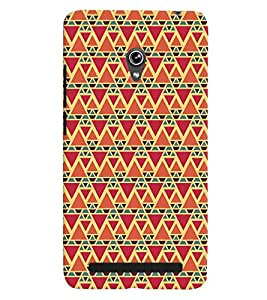 Printvisa Red And Orange Triangle Patterns Back Case Cover for Asus Zenfone 6::Asus Zenfone 6 A600CG
