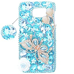 Spritech(TM) 3D Handmade Pure White Crystal Flower Bling Butterfly Diamond Design Hard Caver Case for Samsung Galaxy S6 Edge