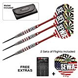 Red Dragon SEWA 24g - 85% Tungsten Steel Darts with Flights, Shafts, Wallet & FREE Red Dragon Checkout Card