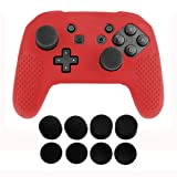 Jadebones Silicone Skin Protective Case With 8pcs Stick Grips for Nintendo Switch Pro Controller (Red) (Color: Red)