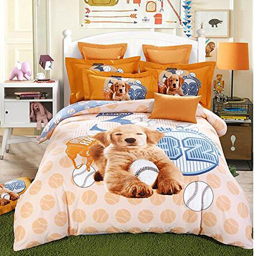 Andreannie Full Size 3d Bedding Sets Cute Pet Dog Golden Retriever Labrador And Baseball Soft Sanding Brushed Cotton Material 4pc Duvet Cover Sets For Family Gift Without Comforter