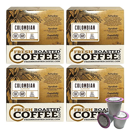 Colombian Supremo Single-Serve Cups, 72 ct. of Single Serve Capsules for Keurig K-Cup Brewers, Fresh Roasted Coffee LLC. (Colombian K Cups compare prices)