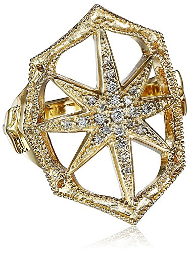 Mizuki-14k-Gold-and-Diamond-Outlined-Web-Starburst-Ring
