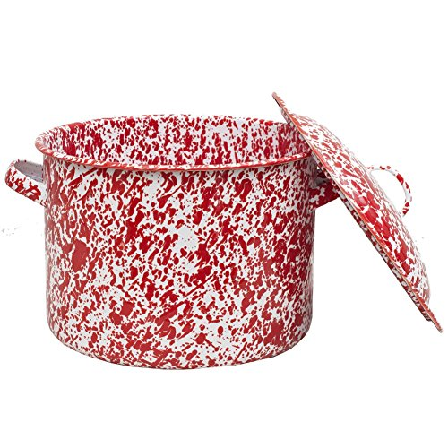 Enamelware 6 Quart Stock Pot - Red Marble