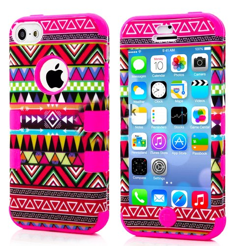 Mylife (Tm) Hot Pink - Colorful Tribal Pattern Series (Neo Hypergrip Flex Gel) 3 Piece Case For Iphone 5/5S (5G) 5Th Generation Itouch Smartphone By Apple (External 2 Piece Fitted On Hard Rubberized Plates + Internal Soft Silicone Easy Grip Bumper Gel + L
