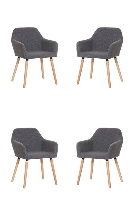 CLP 4 sedia per ospiti ACHAT, base in legno, con seduta bene imbottita in stoffa, fino a 4 colori a scelta grigio chiaro
