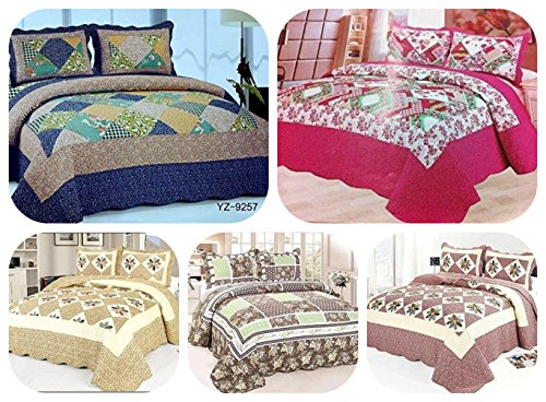 luxury-100-cotton-bedspread-2-matching-pillow-cases-free-quilted-patchwork-super-quality-one-size-fi