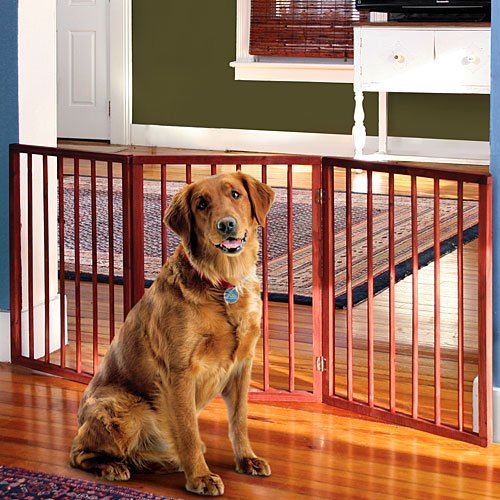 Folding Wood Pet Gate- 3 Sections (Wooden Fence Panels compare prices)