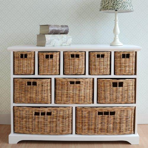 tetbury wide storage chest with wicker baskets bathroom