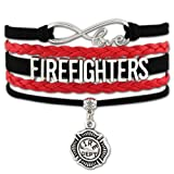 Firefighters Support Leather Multi Strap Bracelet With Charm, Smaller Wrists