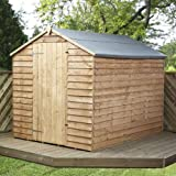 8ft x 6ft Overlap Apex Single Door Wooden Storage Shed - Brand New 8x6 Wood Sheds