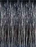 1 X 3' x 8' Black Tinsel Foil Fringe Door Window Curtain Party Decoration