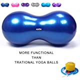 Wekin Physio Roll Therapy Fitness Excercise Peanut Ball for Balance, Labor Birthing, Muscle Tension, Back Pain Relief, Coordinate Development, Dog Training, Home Exercise & Yoga Programme Small Large (Color: blue, Tamaño: 45*90cm)