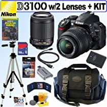 "Nikon D3100 14.2MP Digital SLR Camera with 18-55mm f/3.5-5.6G AF-S DX ""VR"" and 55-200mm f/4-5.6G ED IF AF-S DX ""VR"" Zoom-Nikkor Lenses + 16GB Deluxe Accessory Kit"