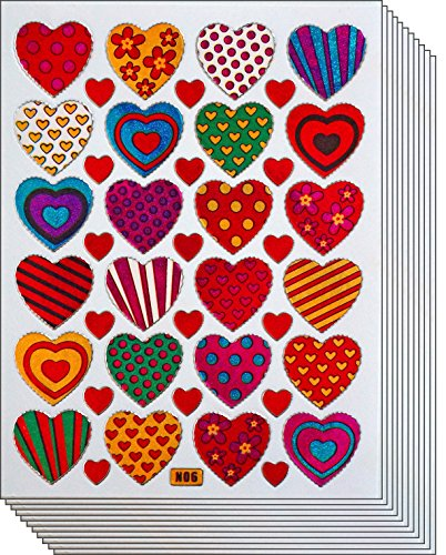 Jazzstick 240 Colorful Valentine Heart Decorative Sticker 10 sheets (VST01A06)